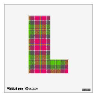 letter L punk rock rockabilly tartan vintage style Wall Decal