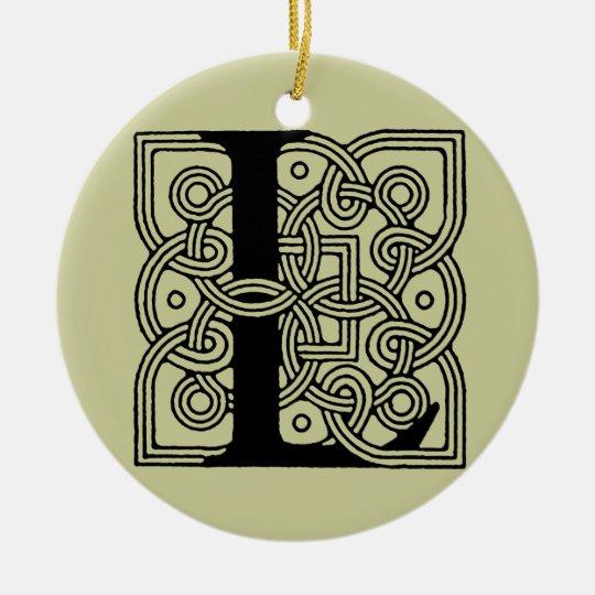 Letter L Vintage Celtic Knot Monogram Ceramic Ornament
