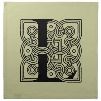 Letter L Vintage Celtic Knot Monogram Napkin