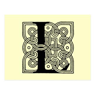 Letter L Vintage Celtic Knot Monogram Postcard