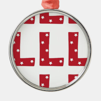 Letter L - White Stars on Dark Red Silver-Colored Round Decoration
