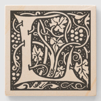 Letter 'L' William Morris Design Square Stone Coaster