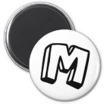 Letter M 2 Inch Round Magnet