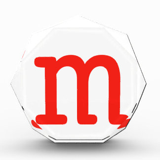 Letter m acrylic award