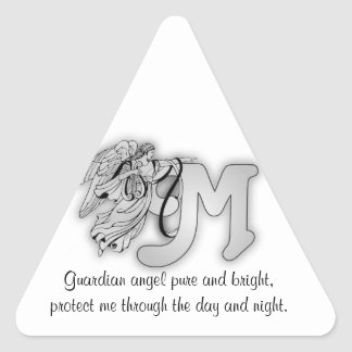 Letter M angel monogram alphabet initial Triangle Sticker