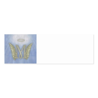 Letter M Angel Monogram Double-Sided Mini Business Cards (Pack Of 20)