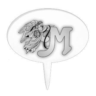 Letter M Angel Monogram Initial Cake Topper