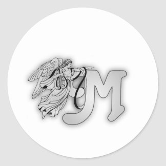 Letter M Angel Monogram Initial Classic Round Sticker