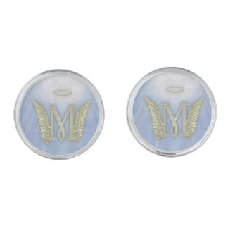 Letter M Angel Monogram Silver Cufflinks