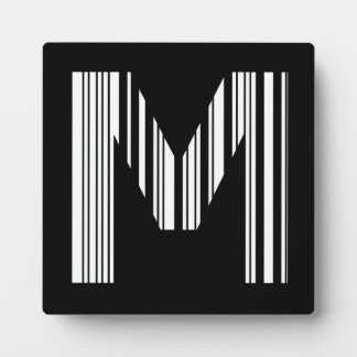 LETTER M BAR CODE First Initial Barcode Pattern Plaque