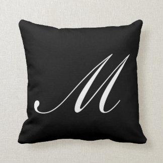 Letter M Black Monogram Pillow