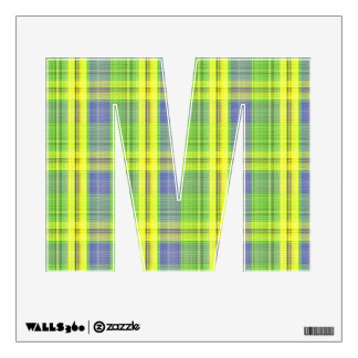 letter M college rock punk plaid tartan alphabet Wall Decal