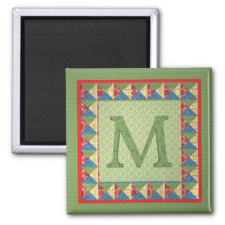 Letter M: 'Fabric Quilt' Style Initial and Pattern Magnet