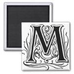 Letter 'M' in Black  - Magnet