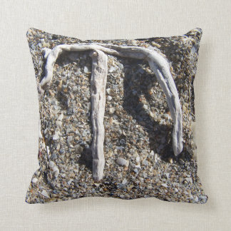 letter m in driftwood on florida beach throw pillows