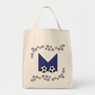 Letter M in Soccer Blue Monogram Tote Tote Bags
