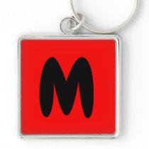 letter M, initial , abecedario popular key chain
