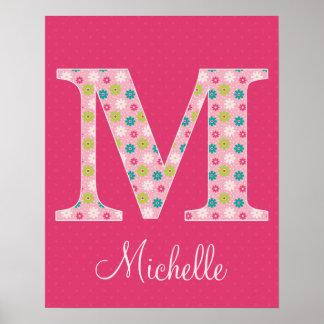 Letter M Initial Alphabet Poster for Girl