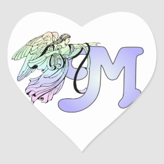 Letter M Initial Monogram Guardian Angel Blue Past Heart Sticker
