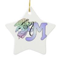 Letter M Initial Monogram Guardian Angel Blue Past Christmas Ornaments