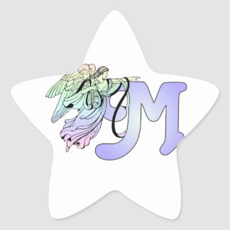 Letter M Initial Monogram Guardian Angel Blue Past Star Sticker