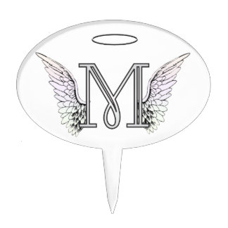 Letter M Initial Monogram with Angel Wings & Halo Cake Topper