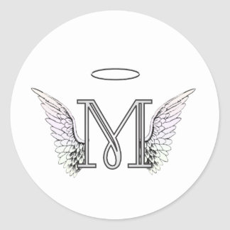 Letter M Initial Monogram with Angel Wings & Halo Classic Round Sticker