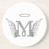 Letter M Initial Monogram with Angel Wings & Halo Coaster