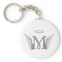 Letter M Initial Monogram with Angel Wings & Halo Keychains