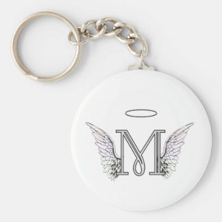 Letter M Initial Monogram with Angel Wings & Halo Keychain