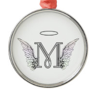 Letter M Initial Monogram with Angel Wings & Halo Christmas Ornaments