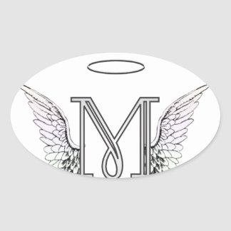 Letter M Initial Monogram with Angel Wings & Halo Oval Sticker