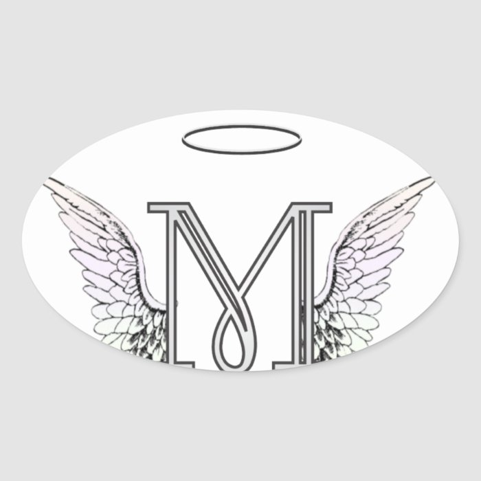 Letter M Initial Monogram with Angel Wings & Halo Oval ...