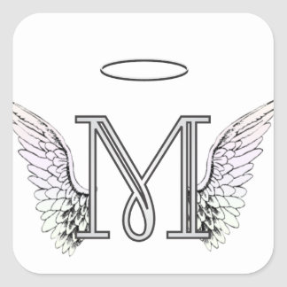 Letter M Initial Monogram with Angel Wings & Halo Square Sticker