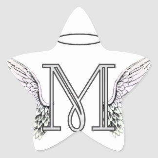 Letter M Initial Monogram with Angel Wings & Halo Star Sticker