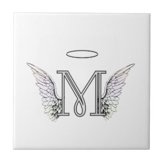 Letter M Initial Monogram with Angel Wings & Halo Tiles