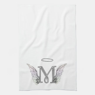 Letter M Initial Monogram with Angel Wings & Halo Towels