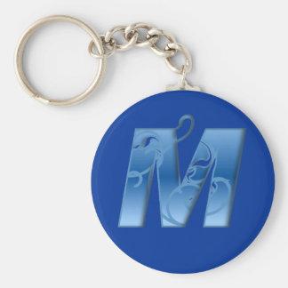 Letter M Basic Round Button Keychain
