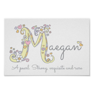 Letter M Maegan initial doodle art name meaning Poster