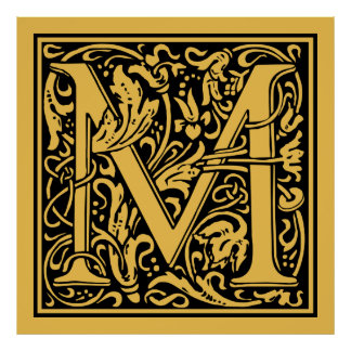 8 letter word for medieval code letter m posters zazzle 17059