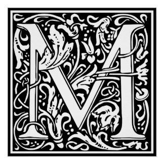 Letter M Medieval Monogram Vintage Initial Poster
