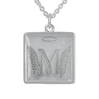 Letter M Memorial Monogram Sterling Silver Necklace