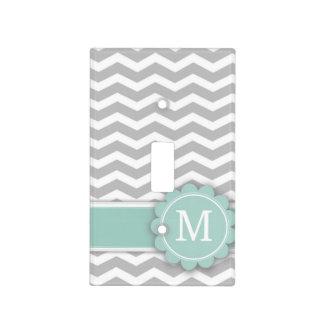Letter M Mint Monogram Grey Chevron Light Switch Covers