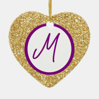 Letter M Monogram Ceramic Ornament