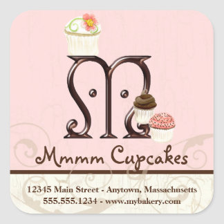 Letter M Monogram Cupcake Logo Business Labels