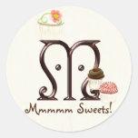 Letter M Monogram Cupcake Logo Business Stickers