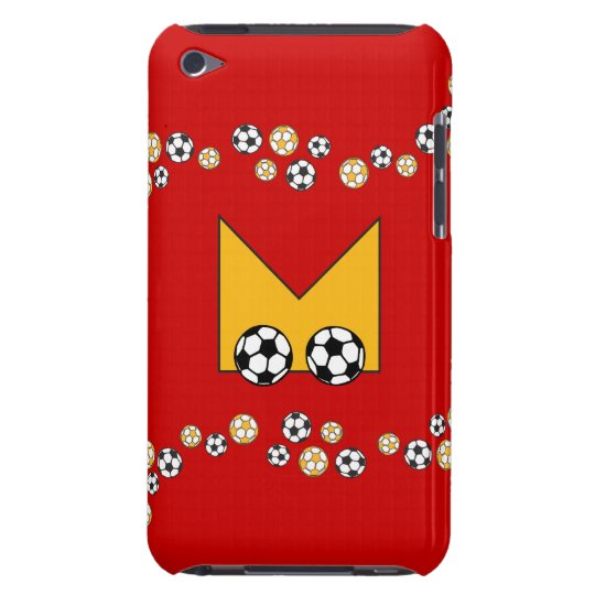 Letter M Monogram in Soccer Gold Barely There iPod Cover