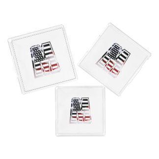 Letter M Monogram Initial Patriotic USA Flag Acrylic Tray