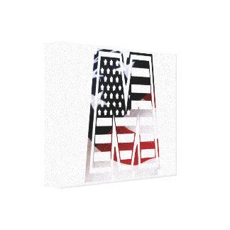 Letter M Monogram Initial Patriotic USA Flag Canvas Print