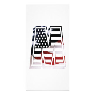 Letter M Monogram Initial Patriotic USA Flag Card